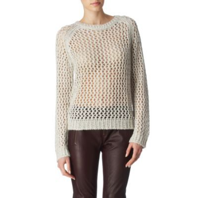 Ferne Jumper - pattern: holey knit; style: standard; predominant colour: ivory; occasions: casual; length: standard; fibres: polyester/polyamide - 100%; material texture: metallic; fit: standard fit; neckline: crew; trends: white; sleeve length: long sleeve; sleeve style: standard; pattern type: knitted - other; pattern size: standard