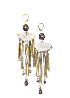 Crochet Chains Earrings - predominant colour: multicoloured; style: drop; length: long; size: large/oversized; material: chain/metal; fastening: pierced