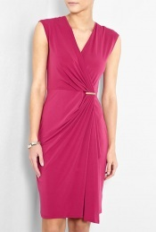 Cap Sleeve Jersey Wrap Pink Dress - style: faux wrap/wrap; neckline: v-neck; pattern: plain; sleeve style: sleeveless; waist detail: twist front waist detail/nipped in at waist on one side/soft pleats/draping/ruching/gathering waist detail; bust detail: ruching/gathering/draping/layers/pintuck pleats at bust; predominant colour: hot pink; length: on the knee; fit: body skimming; fibres: polyester/polyamide - stretch; material texture: jersey; occasions: occasion; hip detail: ruching/gathering at hip, soft pleats at hip/draping at hip/flared at hip; trends: brights; sleeve length: sleeveless; pattern type: fabric; pattern size: standard; texture group: jersey - stretchy/drapey