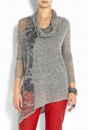 Grey Alpaca Burnout Pullover Sweater - neckline: cowl/draped neck; pattern: plain; length: below the bottom; hip detail: asymmetric hem falling at hip level; style: standard; predominant colour: light grey; occasions: casual; fibres: wool - mix; fit: standard fit; sleeve length: long sleeve; sleeve style: standard; trends: trophy jumper ; texture group: knits/crochet; pattern type: knitted - other; pattern size: standard