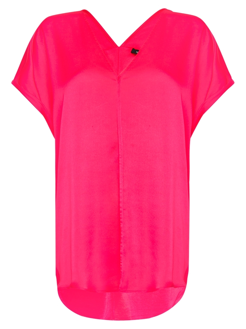 Exposed Seam T Shirt, Fuchsia - neckline: v-neck; sleeve style: angel/waterfall; pattern: plain; length: below the bottom; style: t-shirt; predominant colour: hot pink; occasions: casual; fibres: polyester/polyamide - 100%; material texture: denim; fit: loose; sleeve length: short sleeve; texture group: denim; pattern type: fabric; pattern size: standard