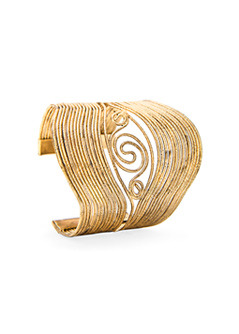 Engraved Cuff - predominant colour: gold; style: cuff; size: large/oversized; material: chain/metal