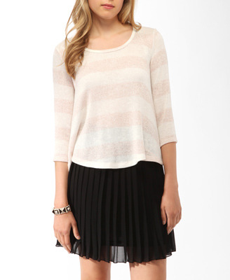 Relaxed Striped Top - pattern: horizontal stripes, striped; predominant colour: blush; occasions: casual; length: standard; style: top; fibres: polyester/polyamide - mix; material texture: metallic; fit: body skimming; back detail: longer hem at back than at front; sleeve length: 3/4 length; sleeve style: standard; pattern type: fabric; pattern size: standard