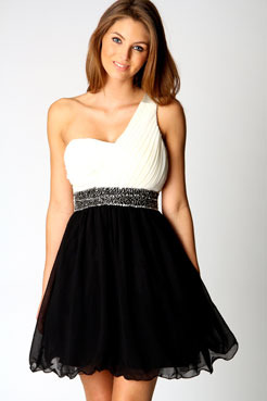 Cameron Sequin Detail One Shoulder Prom Dress - length: mid thigh; neckline: round neck; fit: empire; pattern: plain; style: asymmetric (top); waist detail: fitted waist, embellishment at waist/feature waistband, narrow waistband; bust detail: ruching/gathering/draping/layers/pintuck pleats at bust, contrast pattern/fabric/detail at bust; predominant colour: black; occasions: evening, occasion; sleeve style: one shoulder; fibres: polyester/polyamide - stretch; material texture: chiffon; hip detail: soft pleats at hip/draping at hip/flared at hip; shoulder detail: asymmetric shoulder detail/one shoulder; sleeve length: sleeveless; trends: monochrome, embellished/bejewelled/ornate , waist-cinchers; texture group: sheer fabrics/chiffon/organza etc.; pattern type: fabric; embellishment: beading