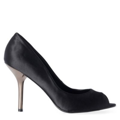 Gabbi Peep Toe Courts - predominant colour: black; material: satin; heel height: high; heel: stiletto; toe: open toe/peeptoe; style: courts