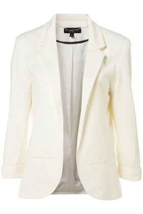 Tall Ponte Blazer - style: single breasted blazer; length: below the bottom; collar: standard lapel/rever collar; predominant colour: ivory; occasions: casual, evening; fit: tailored/fitted; fibres: polyester/polyamide - mix; material texture: satin; sleeve length: 3/4 length; sleeve style: standard; texture group: structured shiny - satin/tafetta/silk etc.