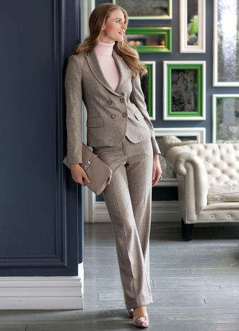 Trouser Suit: - length: standard; waist detail: fitted waist; hip detail: front pockets at hip; waist: mid/regular rise; predominant colour: stone; occasions: work; fibres: wool - mix; material texture: calico; texture group: cotton feel fabrics; fit: straight leg; style: standard