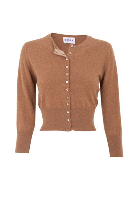 Caramel Cashmere Cropped Cardigan - pattern: plain; neckline: high neck; style: fine knit; length: cropped; predominant colour: camel; occasions: casual; material texture: tulle; fit: slim fit; waist detail: fitted waist; fibres: cashmere - 100%; sleeve length: 3/4 length; sleeve style: standard; trends: waist-cinchers; texture group: sheer fabrics/chiffon/organza etc.; pattern type: knitted - other; pattern size: standard