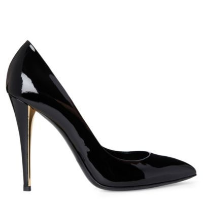 Clara Patent Leather Courts - predominant colour: black; material: patent; heel height: high; heel: stiletto; toe: pointed toe; style: courts; finish: patent