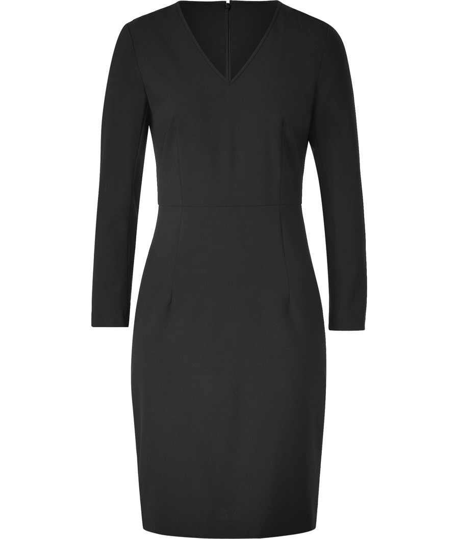 Black Kasia Sheath Dress - style: shift; length: mid thigh; neckline: v-neck; fit: tailored/fitted; pattern: plain; waist detail: fitted waist; bust detail: ruching/gathering/draping/layers/pintuck pleats at bust; predominant colour: black; occasions: evening, work; fibres: wool - stretch; hip detail: sculpting darts/pleats/seams at hip; sleeve length: long sleeve; sleeve style: standard; trends: waist-cinchers, pure tailoring; pattern type: fabric; pattern size: standard; texture group: jersey - stretchy/drapey