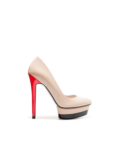 Patent Leather Platform Court Shoe - predominant colour: multicoloured; material: patent; heel height: high; heel: platform; toe: pointed toe; style: courts; finish: patent