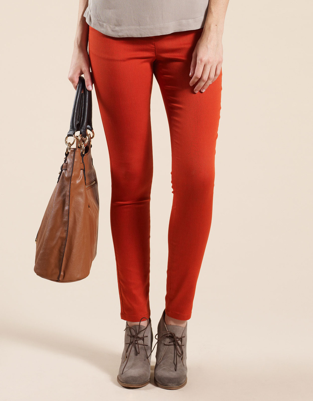 Nadine Skinny Jean - style: skinny leg; pattern: plain; pocket detail: traditional 5 pocket; waist: mid/regular rise; predominant colour: bright orange; occasions: casual; length: ankle length; fibres: cotton - stretch; texture group: denim; pattern type: fabric; pattern size: standard