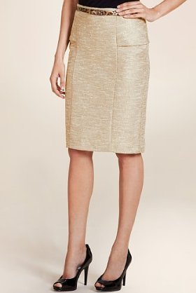 Per Una Panelled Pencil Belted Skirt With Wool - pattern: lightly patterned, herringbone/tweed, tweed, patterned/print; style: pencil; fit: tailored/fitted; waist detail: fitted waist, belted waist/tie at waist/drawstring; waist: high rise; hip detail: fitted at hip, structured pleats at hip, sculpting darts/pleats/seams at hip; predominant colour: gold; occasions: casual, evening, work; length: on the knee; fibres: cotton - mix; trends: waist-cinchers, pure tailoring; texture group: structured shiny - satin/tafetta/silk etc.; pattern type: fabric; pattern size: small & light