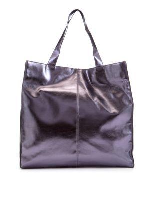 Purple Metallic Shopper Bag - predominant colour: purple; style: tote ...