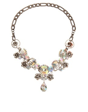 Spike And Stone Collar Necklace - predominant colour: stone; style: standard; length: short; size: standard; material: chain/metal; trends: embellished/bejewelled/ornate 