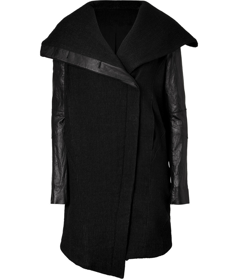 Helmut Lang: Black Coat With Leather Sleeves (in black)