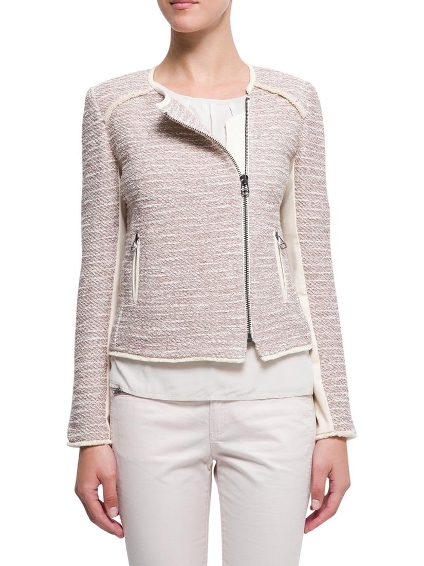 Boucle Jacket Pattern Zipped Boucle Jacket Pink