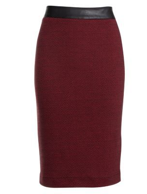 Pencil Dress on Red Textured Pencil Skirt   Pattern  Plain  Style  Pencil  Fit