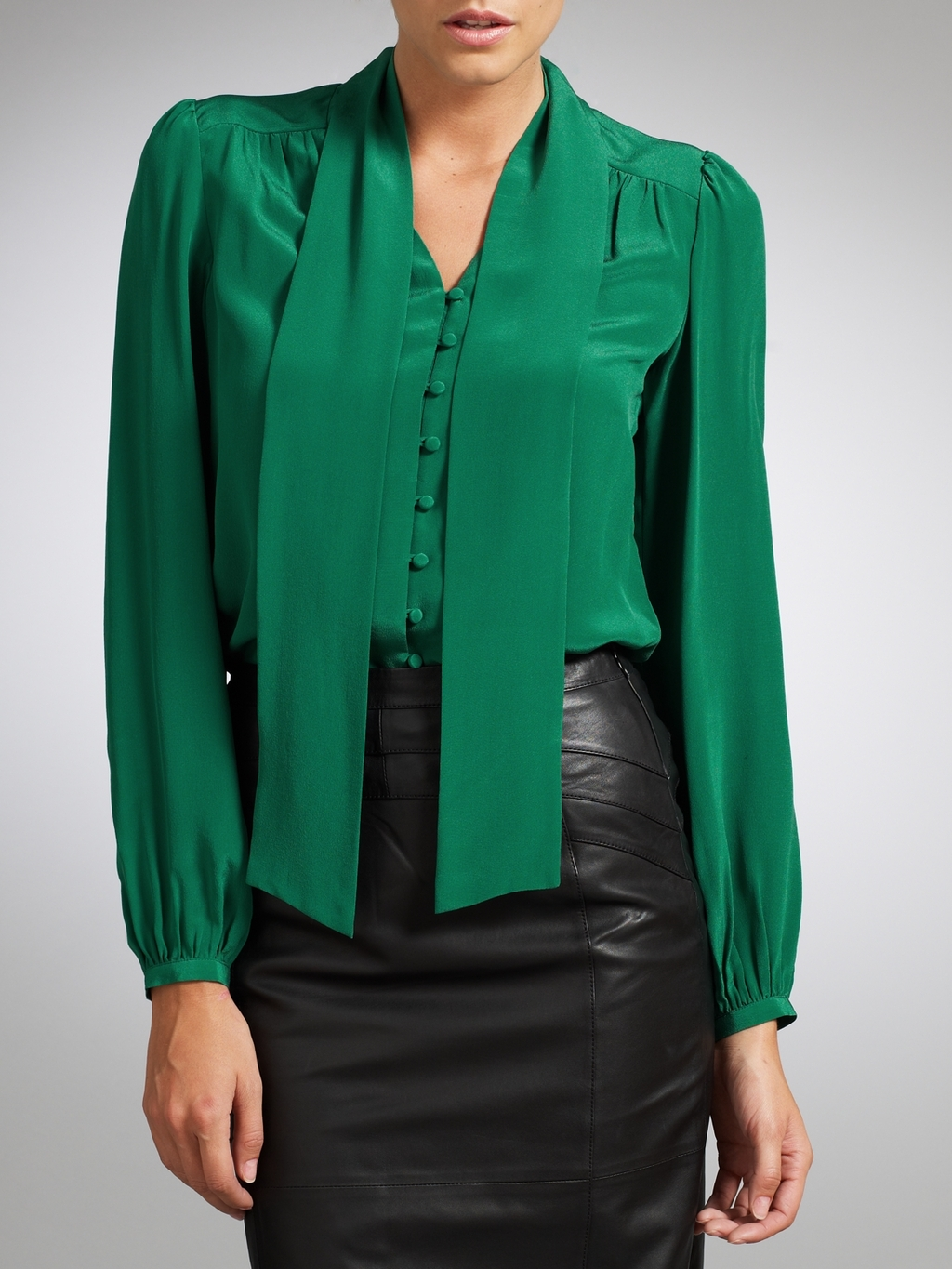 Emerald Green Blouse With Tie - Long Blouse With Pants