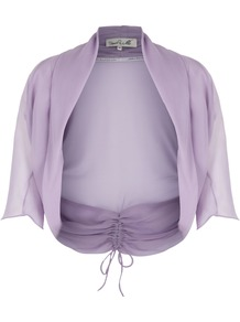 Women&#x27;s Amelia Rose Shrug, Lilac - pattern: plain; style: bolero/shrug; length: cropped; back detail: tie detail at back; neckline: collarless open; predominant colour: lilac; occasions: casual, evening, occasion; fibres: silk - 100%; fit: standard fit; sleeve length: 3/4 length; sleeve style: standard; texture group: sheer fabrics/chiffon/organza etc.; pattern type: fabric