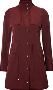 Women's Lupin Parka, Multi Coloured - pattern: plain; hip detail: side pockets at hip; style: parka; collar: high neck; length: mid thigh; predominant colour: burgundy; occasions: casual; fit: tailored/fitted; fibres: polyester/polyamide - 100%; waist detail: belted waist/tie at waist/drawstring; back detail: back vent/flap at back; sleeve length: long sleeve; sleeve style: standard; collar break: high; pattern type: fabric; texture group: other - light to midweight