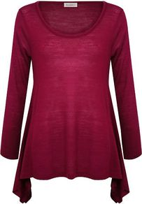 Women&#x27;s Wool Mix Drape Top, Dark Pink - pattern: plain; length: below the bottom; predominant colour: magenta; occasions: casual, work; style: top; neckline: scoop; fibres: acrylic - mix; fit: loose; hip detail: dip hem; sleeve length: long sleeve; sleeve style: standard; texture group: knits/crochet; pattern type: knitted - fine stitch