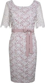 Women's Floral Lace Shift Drs, Ivory - style: shift; neckline: round neck; back detail: low cut/open back; shoulder detail: contrast pattern/fabric at shoulder; waist detail: belted waist/tie at waist/drawstring; predominant colour: ivory; occasions: evening, occasion; length: just above the knee; fit: body skimming; fibres: polyester/polyamide - 100%; sleeve length: short sleeve; sleeve style: standard; texture group: lace; pattern type: fabric; pattern size: small & light; pattern: florals