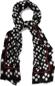 Ikat Spot Scarf, Multi Coloured - predominant colour: black; occasions: casual, evening, work, occasion; type of pattern: standard; style: regular; size: standard; material: fabric; embellishment: fringing; pattern: patterned/print