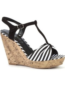 Black Stripe T Bar Cork Wedges - predominant colour: black; occasions: casual, holiday; material: fabric; heel height: high; ankle detail: ankle strap; heel: wedge; toe: open toe/peeptoe; style: t-bar; trends: striking stripes; finish: plain; pattern: striped