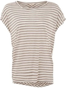 Grey And White Stripe Oversize T Shirt - neckline: round neck; sleeve style: capped; pattern: horizontal stripes; style: t-shirt; predominant colour: mid grey; occasions: casual; length: standard; fibres: cotton - 100%; fit: loose; back detail: longer hem at back than at front; sleeve length: short sleeve; pattern type: fabric; pattern size: standard; texture group: jersey - stretchy/drapey