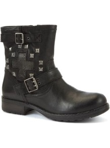Black Cross Panel Stud Biker Boots - predominant colour: black; occasions: casual; material: faux leather; heel height: mid; embellishment: studs; heel: block; toe: round toe; boot length: ankle boot; style: biker boot; finish: plain; pattern: plain