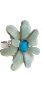 Mint Green Shimmer Flower Ring - predominant colour: pistachio; occasions: casual, evening, work, occasion, holiday; style: cocktail; size: large/oversized; material: chain/metal; finish: metallic; embellishment: jewels