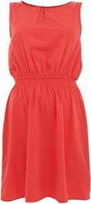 Coral Shirred Waist Sleeveless Dress - style: shift; length: mid thigh; fit: fitted at waist; pattern: plain; sleeve style: sleeveless; waist detail: elasticated waist; predominant colour: coral; occasions: casual, holiday; fibres: polyester/polyamide - 100%; neckline: crew; back detail: keyhole/peephole detail at back; sleeve length: sleeveless; texture group: crepes; trends: fluorescent; pattern type: fabric