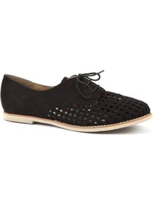 Black Woven Panel Brogues - predominant colour: black; occasions: casual, work; material: fabric; heel height: flat; toe: round toe; style: brogues; finish: plain; pattern: plain