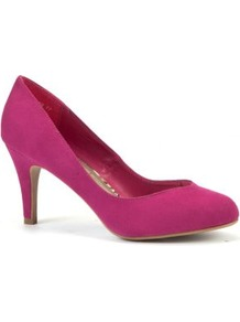 Bright Pink Suedette Court Shoes - predominant colour: hot pink; occasions: casual, evening, work, occasion; material: fabric; heel height: mid; heel: stiletto; toe: round toe; style: courts; finish: plain; pattern: plain