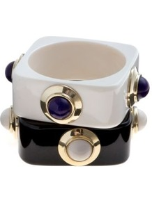 Limited Monochrome Jewel Square Bangle Set - occasions: casual, evening, work, occasion; style: bangle; size: large/oversized; material: plastic/rubber; predominant colour: monochrome; finish: plain; embellishment: jewels