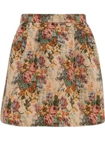 Cream Tapestry Print Skater Skirt - length: mini; style: full/prom skirt; fit: loose/voluminous; waist detail: fitted waist; waist: high rise; occasions: casual, work; fibres: polyester/polyamide - mix; hip detail: sculpting darts/pleats/seams at hip; predominant colour: multicoloured; trends: high impact florals; pattern type: fabric; pattern size: standard; pattern: florals; texture group: brocade/jacquard