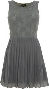 Grey Lace Pleated Dress - length: mid thigh; neckline: round neck; pattern: plain; sleeve style: sleeveless; waist detail: fitted waist; predominant colour: mid grey; occasions: evening, occasion; fit: fitted at waist &amp; bust; style: fit &amp; flare; fibres: polyester/polyamide - 100%; hip detail: structured pleats at hip; bust detail: contrast pattern/fabric/detail at bust; back detail: keyhole/peephole detail at back; sleeve length: sleeveless; texture group: lace; pattern type: fabric; pattern size: standard