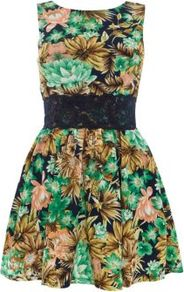 Green Floral Contrast Lace Waist Dress - length: mid thigh; neckline: round neck; sleeve style: sleeveless; waist detail: embellishment at waist/feature waistband; predominant colour: emerald green; occasions: casual, evening, holiday; fit: fitted at waist &amp; bust; style: fit &amp; flare; fibres: polyester/polyamide - 100%; hip detail: structured pleats at hip; sleeve length: sleeveless; texture group: cotton feel fabrics; pattern type: fabric; pattern size: small &amp; busy; pattern: florals