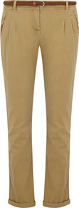 Stone Woven Belted Peg Trouser - pattern: plain; pocket detail: small back pockets, pockets at the sides; waist detail: belted waist/tie at waist/drawstring; waist: mid/regular rise; predominant colour: tan; occasions: casual, work; length: ankle length; style: chino; fibres: cotton - 100%; hip detail: front pleats at hip level; jeans &amp; bottoms detail: turn ups; texture group: cotton feel fabrics; fit: slim leg; pattern type: fabric; pattern size: standard