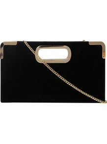 Evies Suede Metal Trim Clutch Bag, Black - predominant colour: black; occasions: evening, occasion; type of pattern: light; style: clutch; length: hand carry; size: small; material: suede; pattern: plain; finish: plain; embellishment: chain/metal