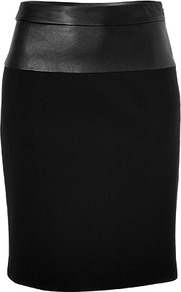 Black Skirt With Leather Top - pattern: plain; style: pencil; fit: tailored/fitted; waist detail: embellishment at waist/feature waistband; waist: high rise; hip detail: fitted at hip; predominant colour: black; occasions: casual, evening, work, occasion; length: just above the knee; fibres: cotton - mix; pattern type: fabric; texture group: woven light midweight
