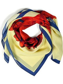 Yellow Hand Drawn Iris Silk Scarf - predominant colour: primrose yellow; occasions: casual, evening, work; type of pattern: large; style: square; size: standard; material: silk; pattern: florals; trends: high impact florals