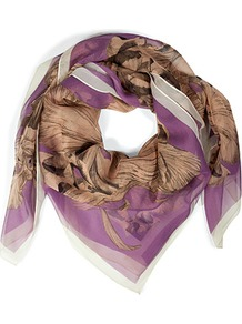 Lilac Hand Drawn Iris Large Silk Scarf - predominant colour: lilac; occasions: casual, work; type of pattern: large; style: square; size: large; material: silk; pattern: florals