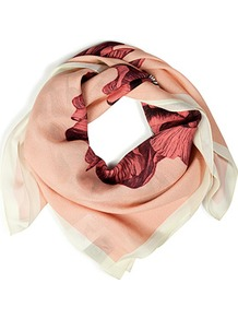 Blush Hand Drawn Iris Silk Scarf - predominant colour: nude; occasions: casual, work; type of pattern: large; style: square; size: standard; material: silk; pattern: florals