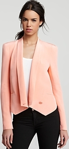 Jacket Becky - pattern: plain; style: single breasted blazer; shoulder detail: shoulder pads; collar: shawl/waterfall; predominant colour: nude; occasions: casual, evening, work, occasion; length: standard; fit: tailored/fitted; fibres: silk - 100%; sleeve length: long sleeve; sleeve style: standard; collar break: low/open; pattern type: fabric; pattern size: standard; texture group: woven light midweight