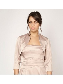 Light Gold Collar Bolero - pattern: plain; style: bolero/shrug; collar: shawl/waterfall; length: cropped; fit: slim fit; predominant colour: champagne; occasions: evening, occasion; fibres: polyester/polyamide - stretch; sleeve length: 3/4 length; sleeve style: standard; texture group: structured shiny - satin/tafetta/silk etc.; collar break: low/open; pattern type: fabric; pattern size: standard