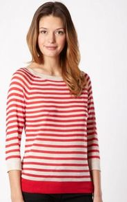 Red Striped Cut Out Jumper - neckline: round neck; pattern: horizontal stripes; style: standard; predominant colour: true red; occasions: casual; length: standard; fibres: polyester/polyamide - 100%; fit: standard fit; back detail: keyhole/peephole detail at back; sleeve length: 3/4 length; sleeve style: standard; texture group: knits/crochet; pattern type: knitted - fine stitch; pattern size: standard