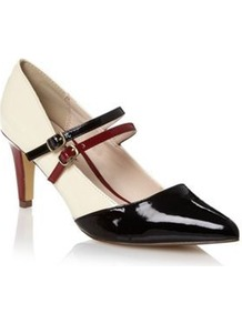 Cream Two Strap Mid Court Shoes - predominant colour: ivory; occasions: evening, work; material: faux leather; heel height: mid; embellishment: buckles; ankle detail: ankle strap; heel: stiletto; toe: pointed toe; style: mary janes; finish: patent; pattern: colourblock