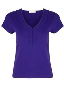 Blackberry Jersey Top - neckline: v-neck; pattern: plain; style: t-shirt; predominant colour: royal blue; occasions: casual, work; length: standard; fibres: polyester/polyamide - stretch; fit: straight cut; sleeve length: short sleeve; sleeve style: standard; pattern type: fabric; texture group: jersey - stretchy/drapey
